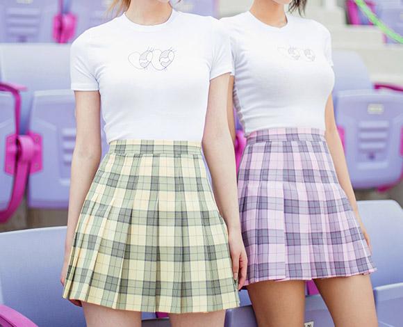 チェック柄テニススカート
